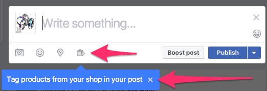 showing the new tag product icon in the Facebook post editor