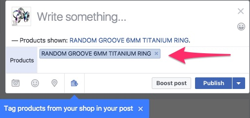 showing how the product tag has been added to the Facebook post