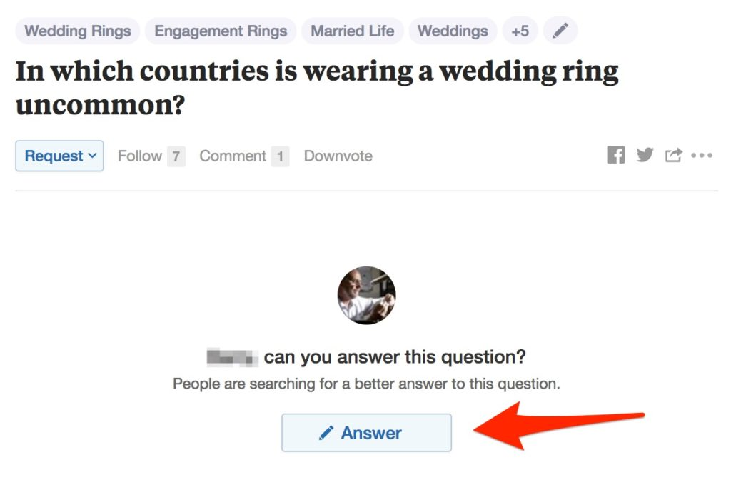 Click the Answer button to write an answer on Quora